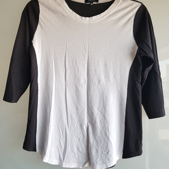 BABATON 3/4 sleeve black and white top